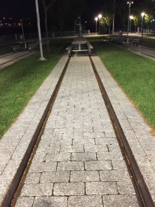 Picnic tables on train tracks